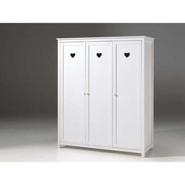 Cuore bianco armadio 3 ante bambina cuori - Design.si.it