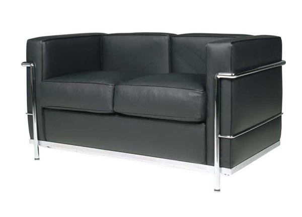 Lc2 2 seater Le Corbusier sofa stainless steel Italian leather black ...