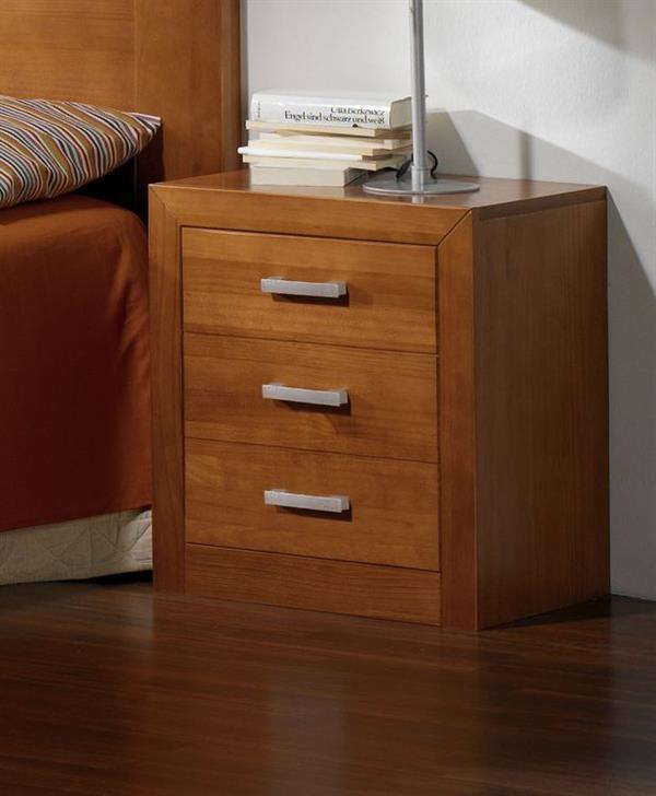Comodino cassetti legno massello pino mordenzato ciliegio - Design.si.it