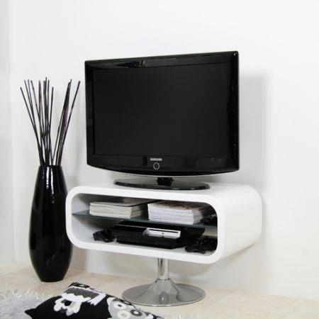 Mobile shiny TV cabinet design brings TV TV lounge retro white glass ...