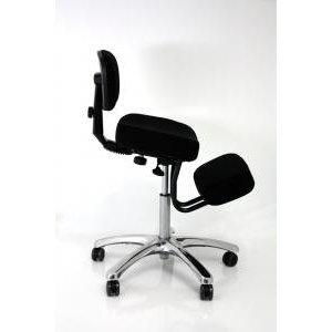 Sgabello posturale nero grigio blu inclinazione bacino poggiaginocchia sedia ergonomica poltrona schienale poggia ginocchia elevazione a gas