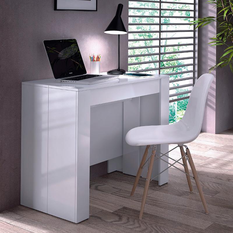 Tavolo allungabile legno laccato bianco lucido da 50 a 237 - Tavolo bianco laccato lucido ...