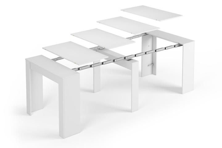 Tavolo allungabile legno laccato bianco lucido da 50 a 237 for Tavolo 10 posti