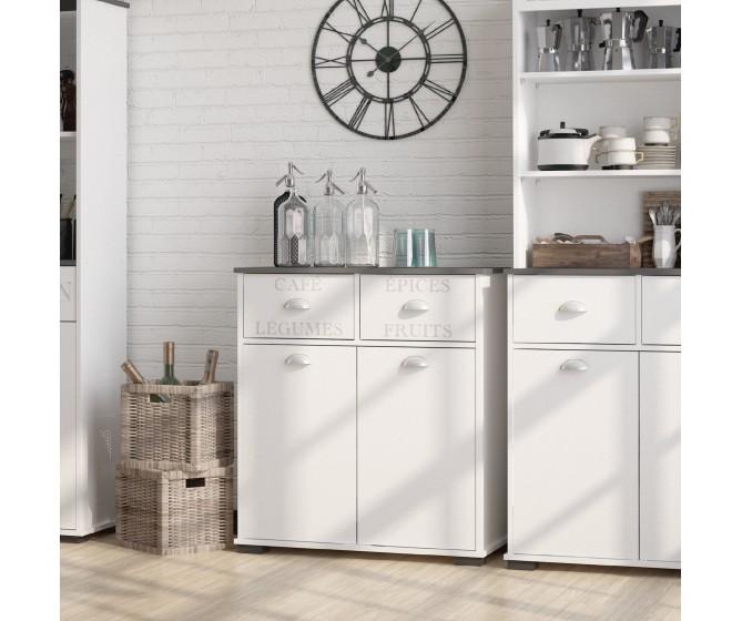 Buffetschrank weißer Küchenschrift Siebdruck bedruckt topgraue Schubladen  Tür schäbiger Chic