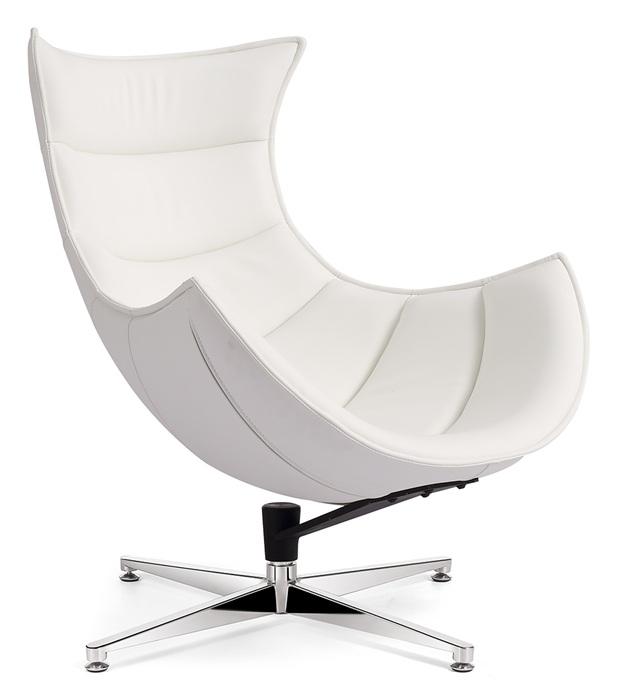 Poltrone Relax Di Design.Poltrona Relax Di Design Girevole Struttura In Fibra Di Vetro Cuoio Rigenerato Bianco