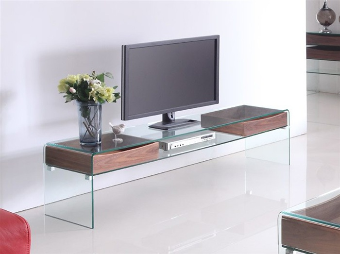 meuble tv transparent en verre bombe tiroirs 180x43 cm