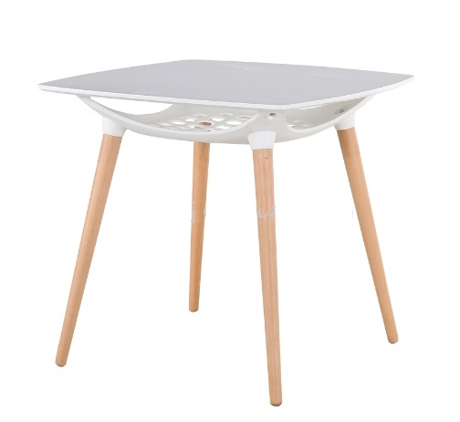 Tavolo Quadrato Con Sottopiano Gambe In Legno Massello Di Faggio Top In Legno Bianco 80 X 80 Cm Design Si It