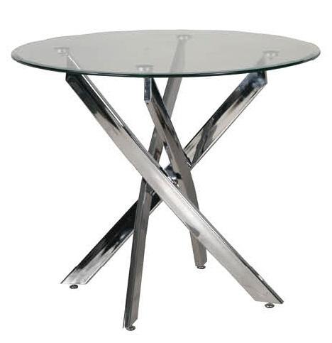 Tavolo tondo base ad incrocio cromata top in cristallo 90 centimetri di  diametro