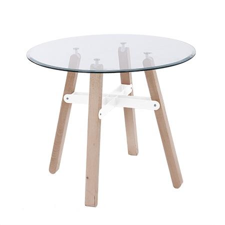 Tavolo tondo design nordico base bicolore, legno, vetro, 90 cm